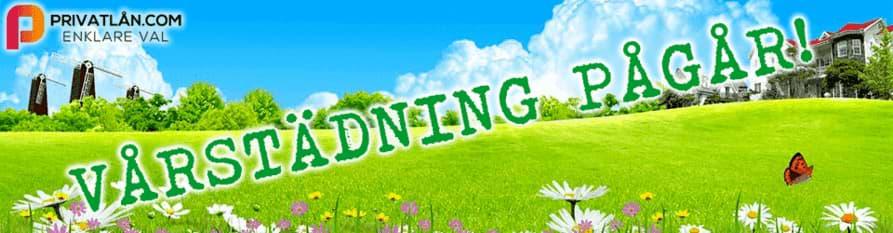 grön äng och blå himmel med text vårstädning pågår
